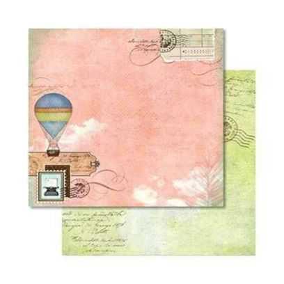 Carta da Scrap Glitterata Mongolfiera - Hot Air Ballon mot275 - 1