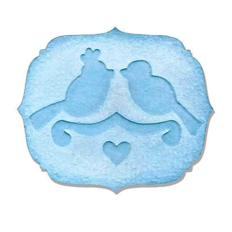 Fustella Etichetta con Uccelli - Embosslits Label  Love Birds - 1
