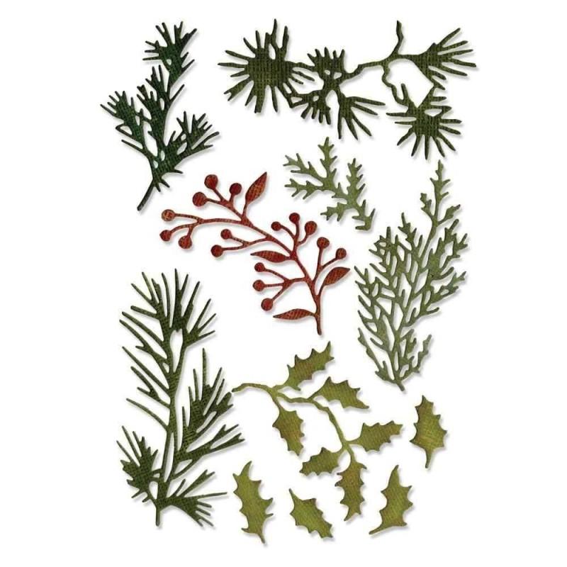 Fustella Rametti Natalizi - Thinlits Holiday Greens Mini - 1