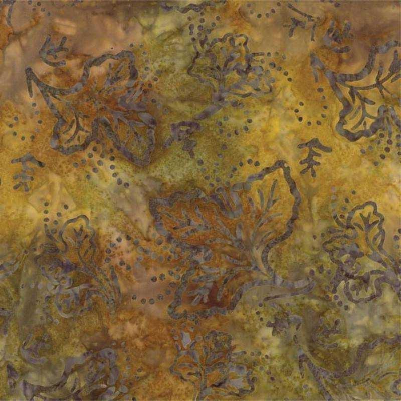 Tessuto Batik - Pumpkin Pie Maple Leaf Caramel 42289 205 - 1