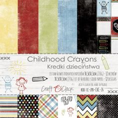 "Craft o' Clock - carte da scrap - Childhood Crayons 12""x12"" - 1"