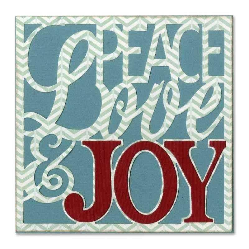 Fustella Natale - Card Front Peace Love & Joy - 1
