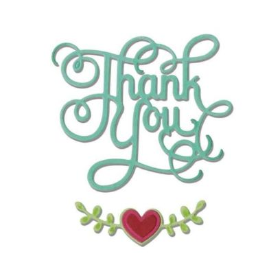 Fustella con Scritta - Thinlits Thank You With Heart - 1