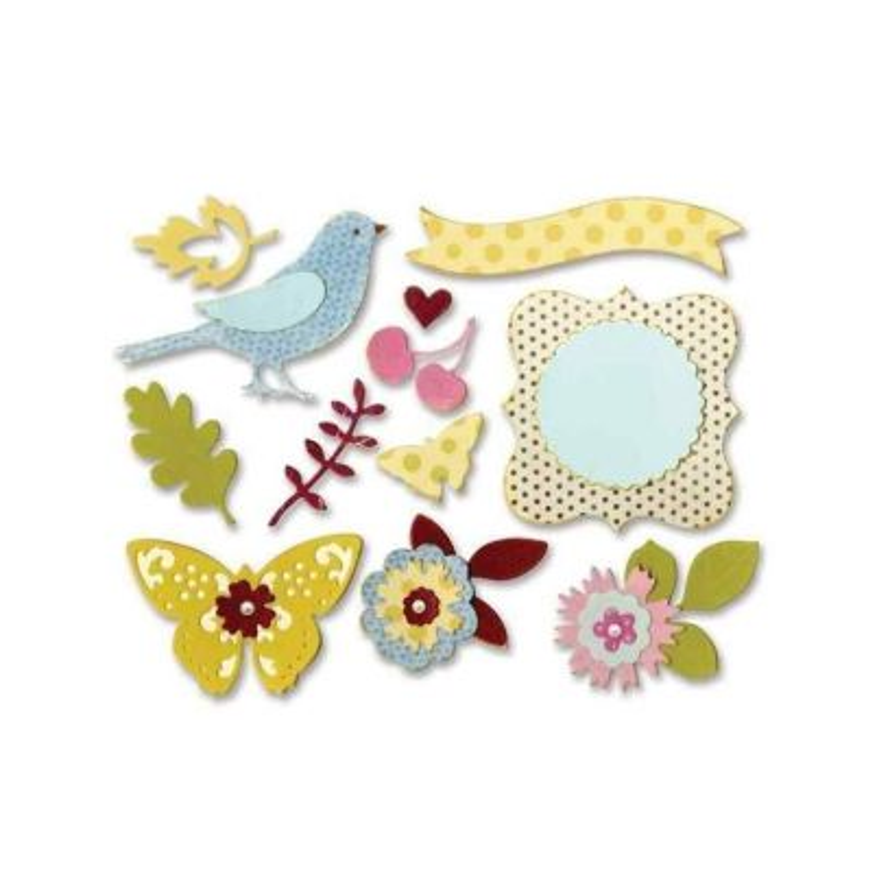 Fustella Fiori e Uccelli - Floral Wreath