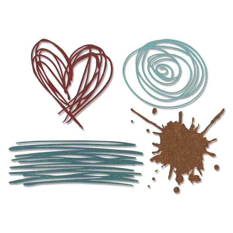 Fustella Scarabocchi e Cuori - Thinlits Scribbles & Splat - 1